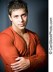 Sexy young masculine man - Portrait of sexy young man with...