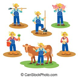 Farmers men and women working on farm. Farming characters...
