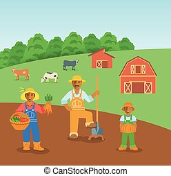 Farming black family in farm field flat background