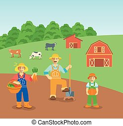 Farming family in farm field flat background