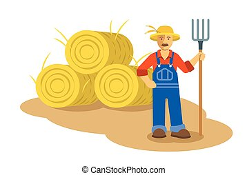 Farmer man standing with pitchfork near group of hay bales....