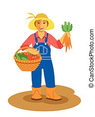 Farmer woman standing with vegetables harvest - Young...