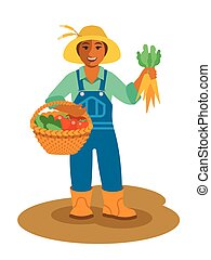 Black farmer woman stands with vegetables harvest