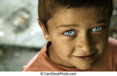 Cute kid with blue eyes - Fine art portrait of cute kid with...