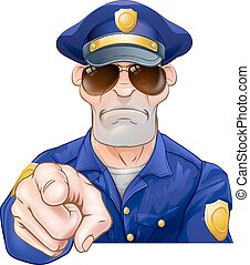 Cartoon Police Man Pointing - Serious cartoon police officer...