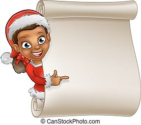 Christmas Scroll Elf Cartoon - A cute cartoon Christmas elf...