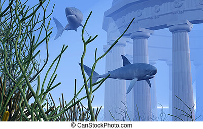 SUBMERGED - Two Mako sharks swim by a greek temple submerged...