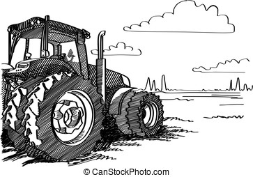 Tractor on a field. Vector freehand linear ink hand drawn...