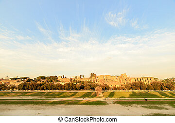 Ruins of Palatine hill palace in Rome, Italy. SunSet