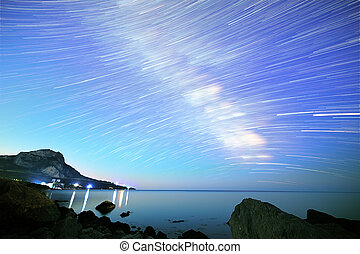 Milky Way. Stars in the form of lines. South Crimea. From Time Lapse