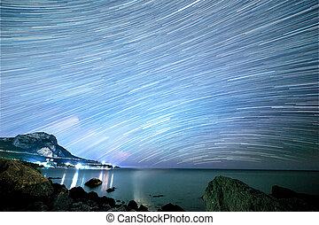 Stars in the form of lines. South Crimea. From Time Lapse