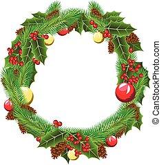 vector green christmas wreath