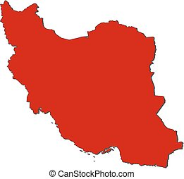 Map - Iran - Map of Iran with the provinces, colored in red.