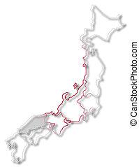 Map of Japan, Chugoku highlighted