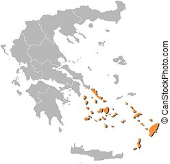 Map - Greece, South Aegean - Map of Greece with the...