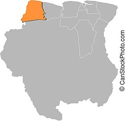Map - Suriname, Nickerie - Map of Suriname with the...