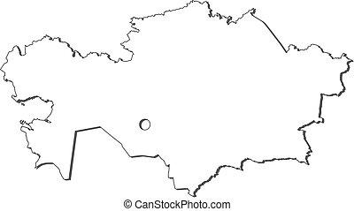 Map - Kazakhstan - Map of Kazakhstan, contous as a black...