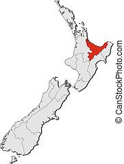 Map - New Zealand, Bay of Plenty - Map of New Zealand with...