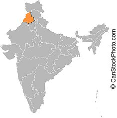 Map - India, Punjab - Map of India with the provinces,...