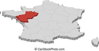 Map - France, Pays de la Loire - 3D-Illustration