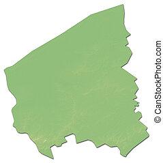 Relief map - West Flanders (Belgium) - 3D-Rendering