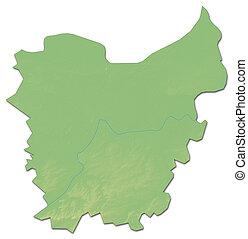Relief map - East Flanders (Belgium) - 3D-Rendering - Relief...