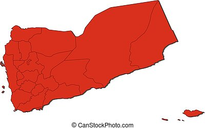 Map - Yemen - Map of Yemen with the provinces, colored in...
