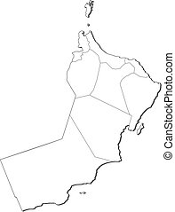 Map - Oman - Map of Oman, contous as a black line.