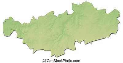 Relief map - Walloon Brabant (Belgium) - 3D-Rendering