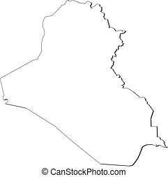 Map - Iraq - Map of Iraq, contous as a black line.