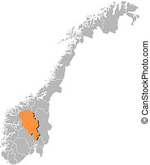 Map - Norway, Oppland