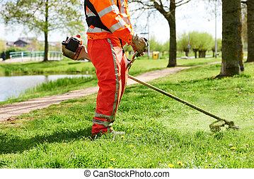 lawn mower worker man cutting grass
