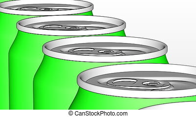 Energy drink or beer production line. Green cans on...
