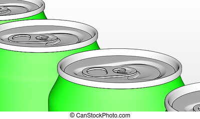 Carbonated drink production line. Green metal cans on industrial conveyor. Recycling ecologic packaging. 4K seamless loopable clip, cartoon version
