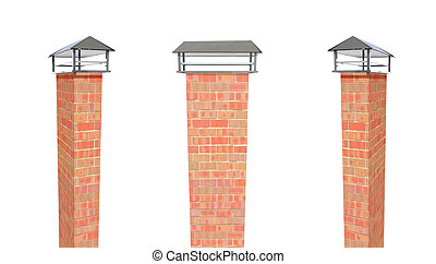 Close up chimney on the roof 3d render