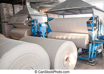 Paper production plant. Plant on production of paper towels....