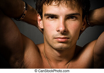 Portrait of young sexy man