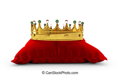 Gold crown on red pillow 3d render