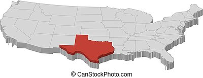 Map - United States, Texas - 3D-Illustration - Map of United...