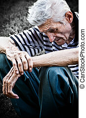 Sad senior man - Lonely senior man feeling very sad