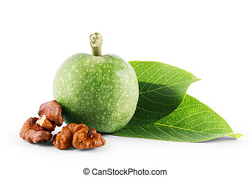 Green walnut, peeled and fresh kernel, on a white background