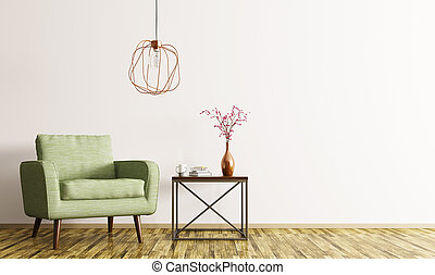 Interior with armchair and coffee table 3d rendering -...