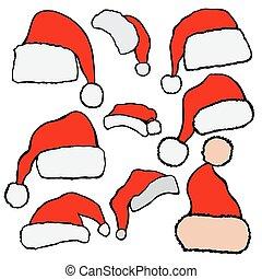Christmas Santa Claus hats - Vector set red Christmas Santa...