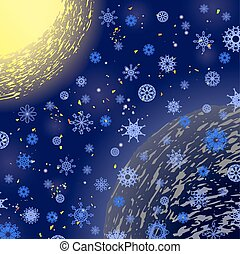 Winter Snowflake Blue Pattern. Christmas Background. Sun and...