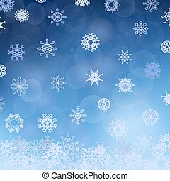 Winter Snowflake Blue Pattern. Christmas Blurred Background