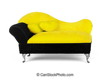 small yellow sofa over white background