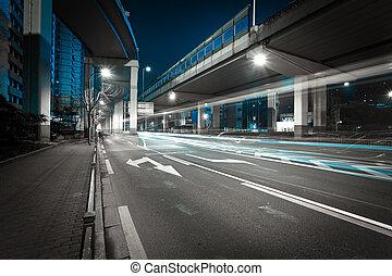 City road bridget night of night scene - Empty road floor...