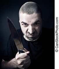 Ugly criminal with knife in his hand - Ugly criminal with...