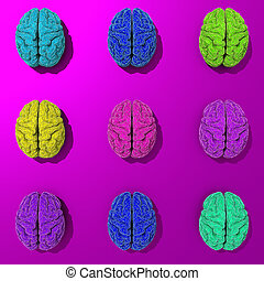 Set of 3d stylized low poly brains illustration - Stylized...