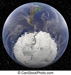 South Pole - Earth from Space - Earth focused on South Pole...